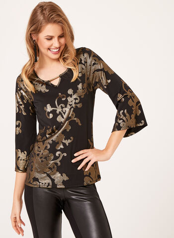 Metallic Print Bell Sleeve Top, Black, hi-res