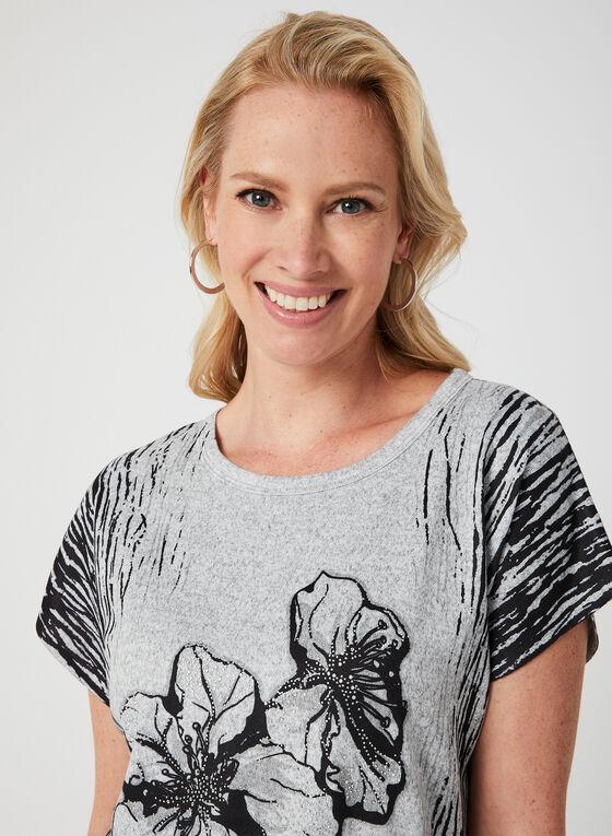 Vex - Floral Print Knit Top, Grey, hi-res