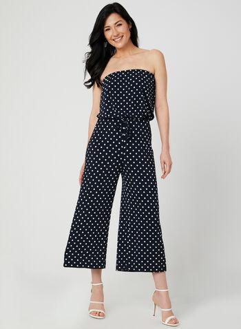 Polka Dot Print Strapless Jumpsuit, Blue, hi-res,  wide leg, jersey, spring 2019, summer 2019
