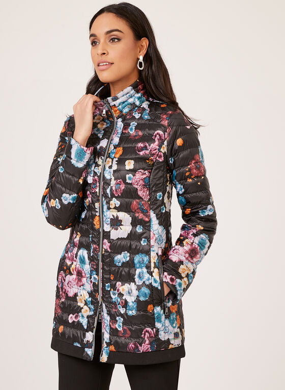 Nuage - Floral Lightweight Packable Down Coat, Black, hi-res