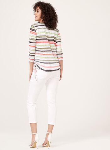 ¾ Sleeve Floral & Stripe Print Top, Green, hi-res