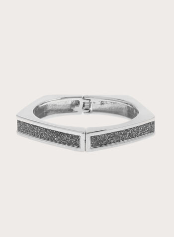 Glitter Hinge Bangle, Silver, hi-res