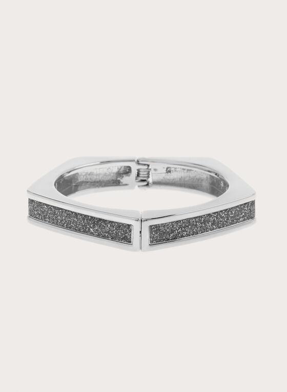 Bracelet rigide pentagone avec paillettes, Argent, hi-res