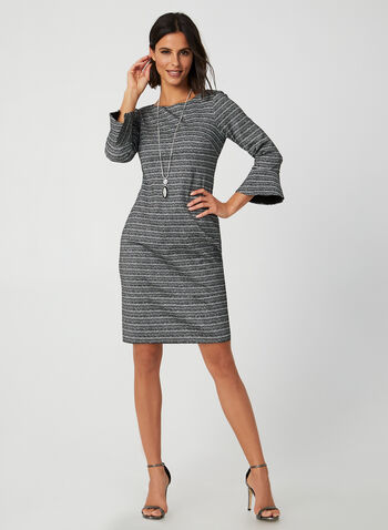 Metallic Bell Sleeve Dress, Black, hi-res,  fall winter 2019, bell sleeves, 3/4 sleeves, long sleeves, stripe print