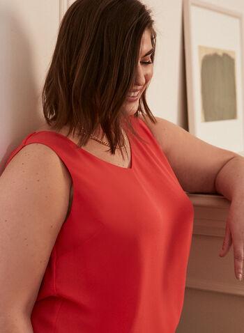 Sleeveless V-Neck Blouse, Orange,  top, blouse, sleeveless, v-neck, lined, crisscross, spring summer 2020