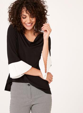Blouse manches ¾ à poignets plissés, Noir, hi-res