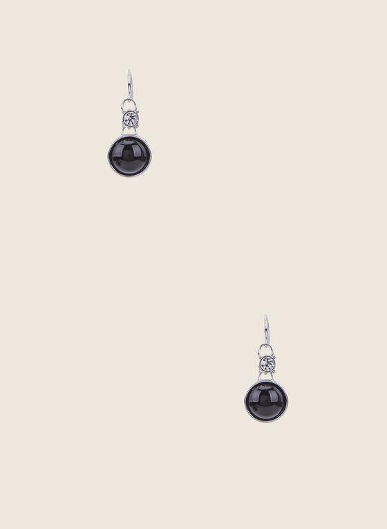 Round Resin Dangle Earrings, Black
