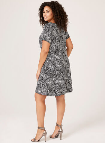 Sheath Abstract Day Dress, Black, hi-res