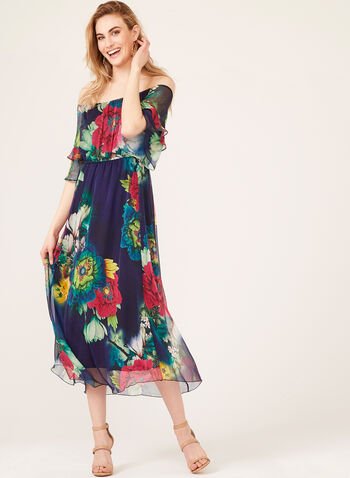 Floral Print Off The Shoulder Dress, Blue, hi-res