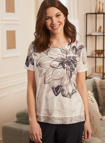 T-shirt fleuri à détails strass, Noir,  t-shirt, manches courtes, strass, fleurs, jersey, printemps été 2020