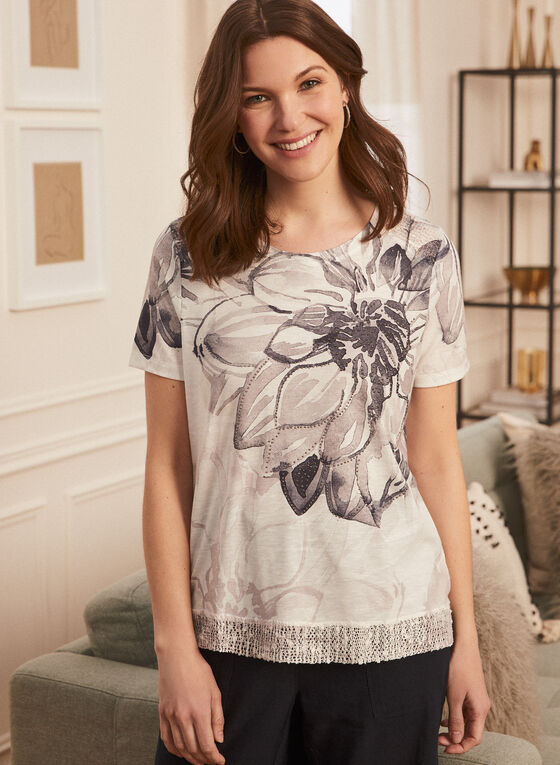 T-shirt fleuri à détails strass, Noir