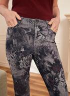 Jeans floral à jambe étroite, Gris