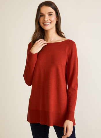 Long Fine Knit Sweater, Orange,  fall winter 2020, sweater, knitting, holiday, top, long sleeves, tunic