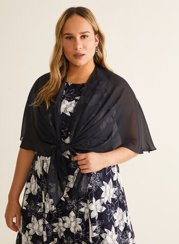 Chiffon Shawl, Blue,  shawl, cover up, stole, chiffon, spring summer 2020