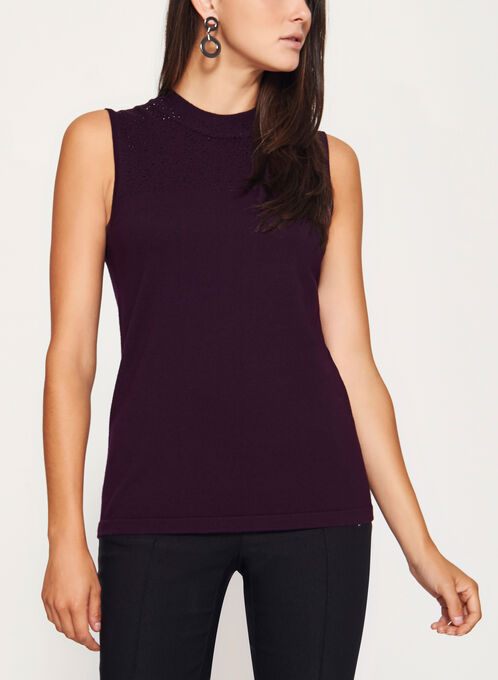Sleeveless Embellished Mock Neck Top, Purple, hi-res