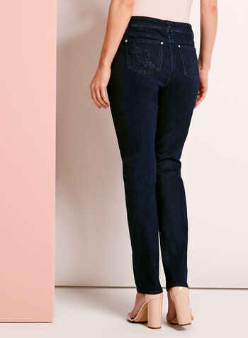 Modern Fit Straight Leg Jeans, Blue, hi-res
