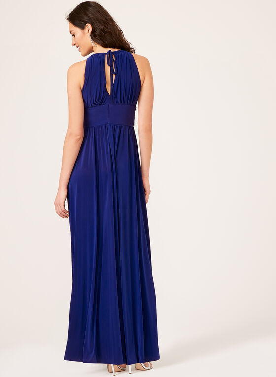 Beaded Belt Embellished Dress, Blue, hi-res