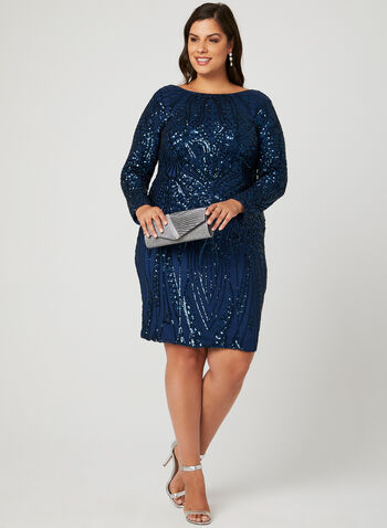 Sequined Mesh Cocktail Dress, Blue, hi-res