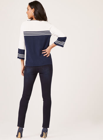 Nautical Colour block Knit, Blue, hi-res