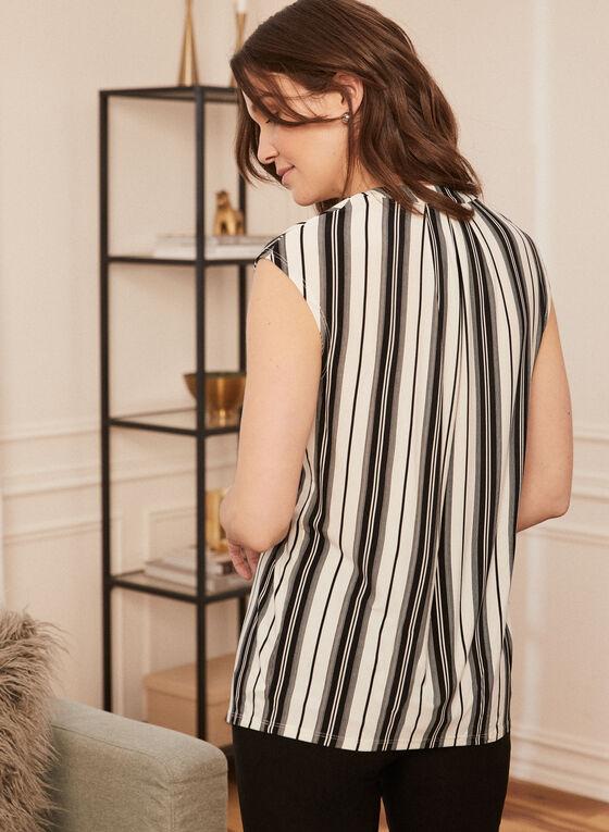 Stripe Print V-Neck Top, Black