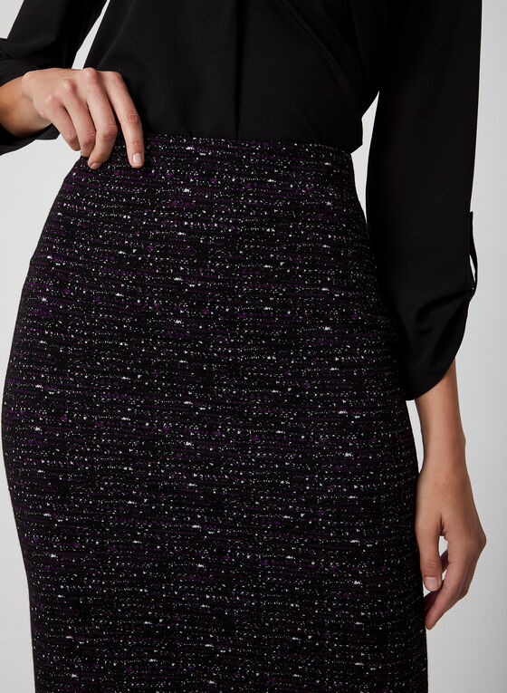 Jacquard Knit Straight Skirt, Purple, hi-res