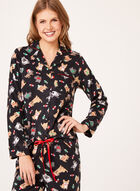 René Rofé - Dog Print Fleece Pajama Set, Black, hi-res