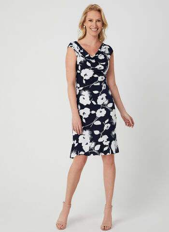 Floral Print Cowl Neck Dress, Blue, hi-res,  jersey, short sleeves, drape neck, empire waist, spring 2019