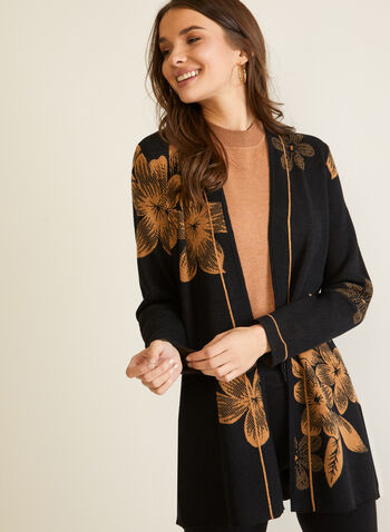 Floral Jacquard Long Cardigan, Black,  cardigan, jacquard, floral, long, contrast, fall winter 2020
