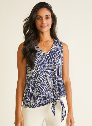Tropical Print Knot Detail Top, White,  top, sleeveless, v-neck, tropical, knot, crepe, spring summer 2020