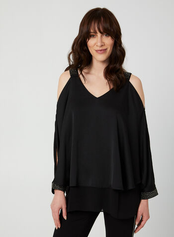 Rhinestone-Embellished Blouse, Black,  blouse, long sleeves, cold shoulder, V-neck, rhinestones, fall 2019, winter 2019