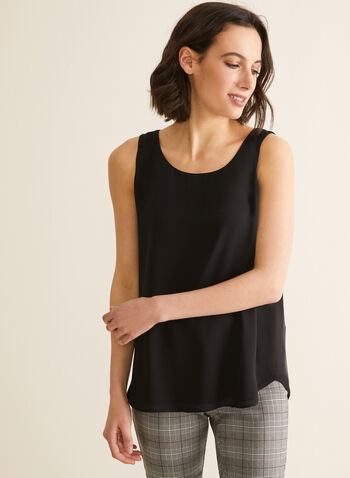 Sleeveless Crepe Blouse, Black,  blouse, sleeveless, crepe, scoop neck, spring summer 2020