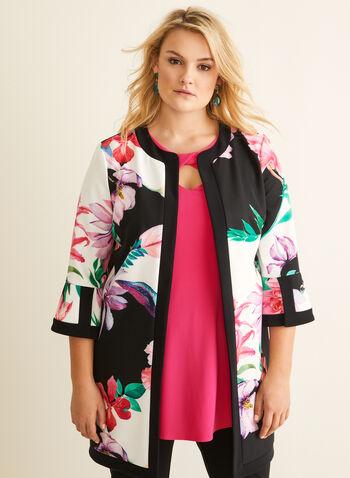 Joseph Ribkoff - Open Front Tropical Print Jacket, Black,  Canada, Joseph Ribkoff, open front jacket, open front, cardigan, floral print, tropical print, spring 2020, summer 2020