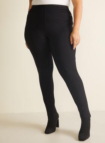 Pintuck Detail Leggings, Black,  legging, pintuck, pull-on, ankle, slim leg, fall winter 2020