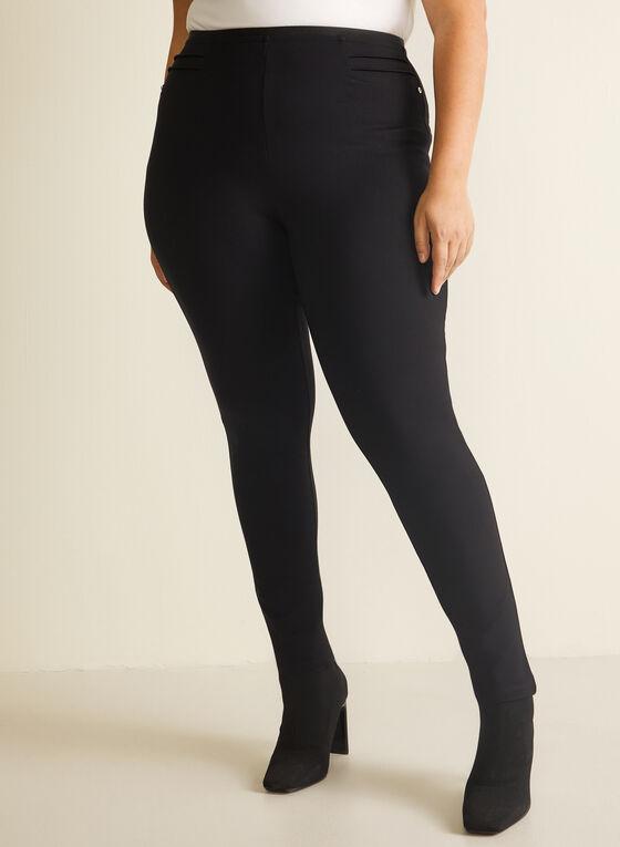Pintuck Detail Leggings, Black