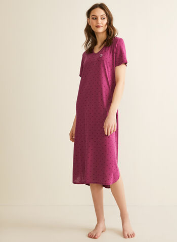 Claudel Lingerie - Longue chemise de nuit, Rouge,  printemps été 2020, chemise de nuit, pyjama, encolure en V, manches courtes, imprimé