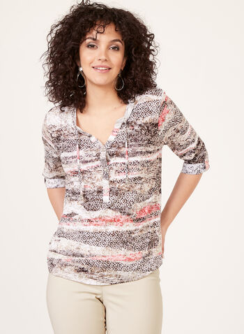 Abstract Print ¾ Sleeves Henley Top, Green, hi-res