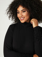 Ruched Mock Neck Top, Black, hi-res