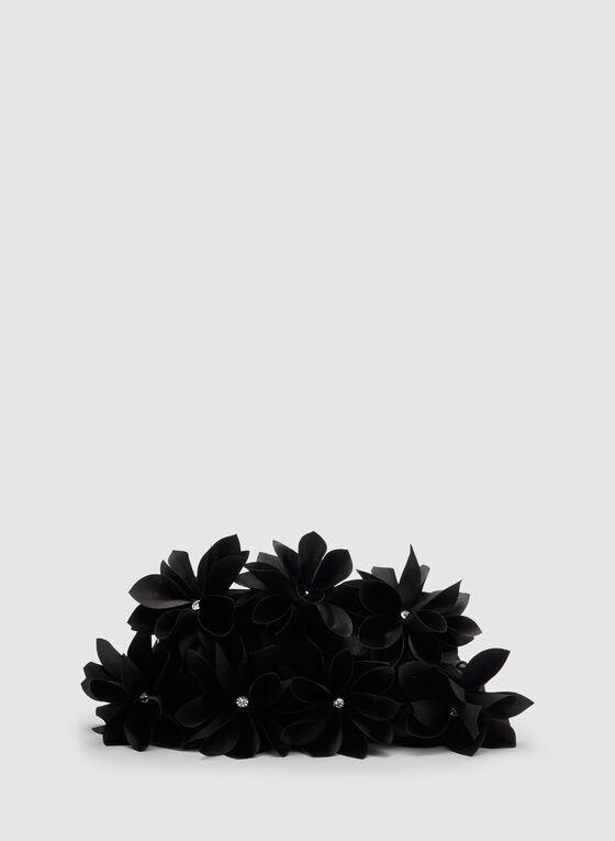 Satin Flower Clutch, Black