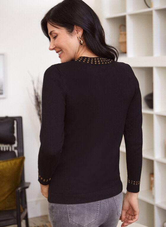 Rhinestone Detail Sweater, Black