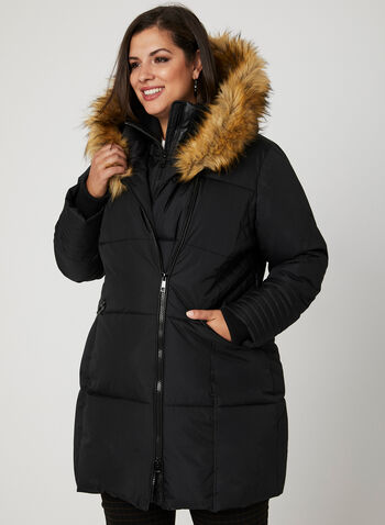 Faux Leather Trim Quilted Coat, Black, hi-res