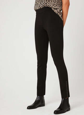 Modern Fit Beaded Trim Pants, Black, hi-res