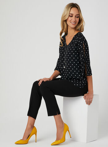 Polka Dot Print Blouse, Black,
