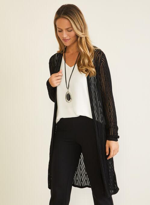 Pointelle Knit Cardigan, Black