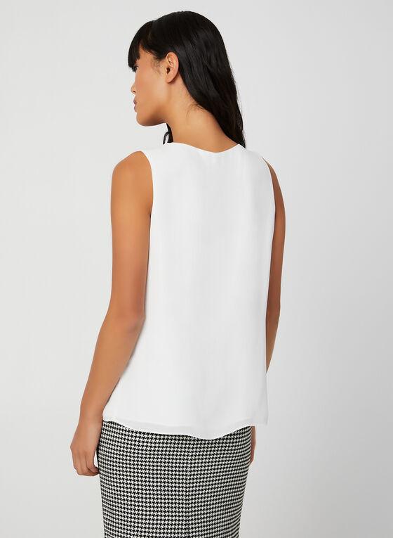 Button Neck Sleeveless Top, Off White