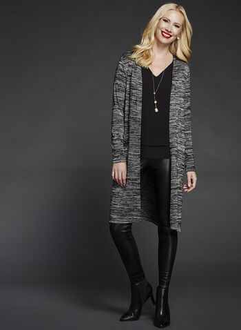 Long Sleeve Heather Knit Cardigan, , hi-res