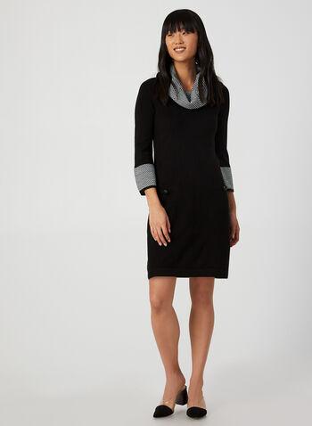 Robe en tricot à détails chevrons, Noir,  robe chandail, motif, motifs, imprimé, imprimés, robe pull, poches, automne hiver 2019