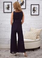 Metallic & Chiffon Jumpsuit, Blue