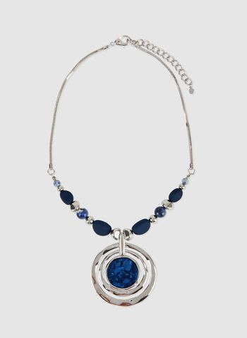 Marbled Pendant Necklace, Blue, hi-res