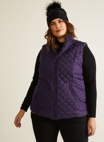 Weatherproof - Reversible Quilted Vest, Purple,  fall winter 2020, vest, sleeveless, quilted, weatherproof, faux fur