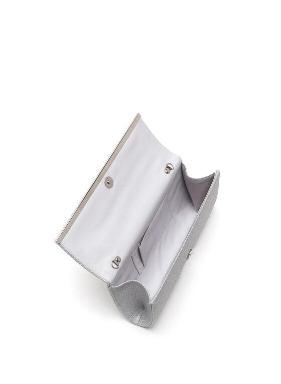Pochette de soirée métallique scintillante, Argent, hi-res